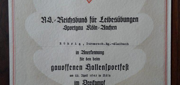 Ns Sport oorkonde Sportgau Köln/Aachen 1943