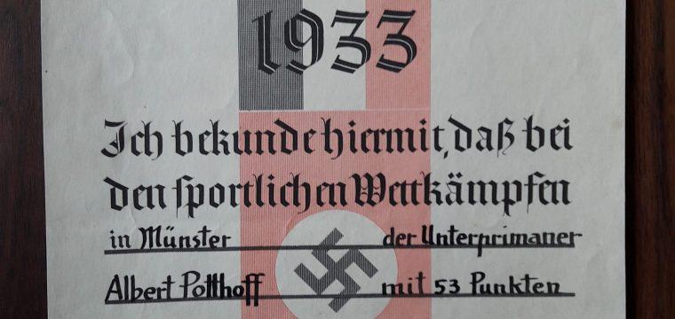 Duitse sport oorkonde uit 1933