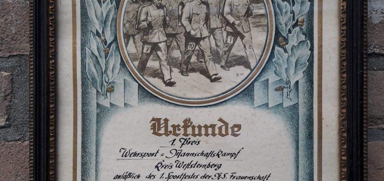 Ingelijste Sportoorkonde 1e prijs N.S. Frauwenschaft # Urkunde N.S. frauwenschaft