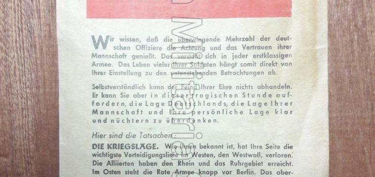 Vlugschrift : Ein allierter offizier spricht zu deutsche offizieren ! AgG 52