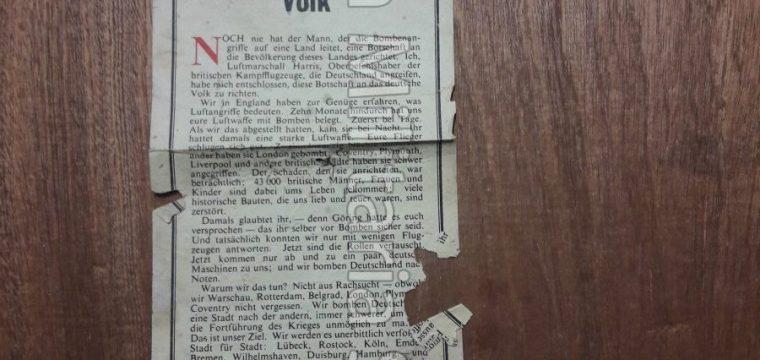 Engels vlugschrift : Eine Botschaft des Oberbefehlshabers der Britischen Kampfflugzeuge an das Deutsche Volk G.41