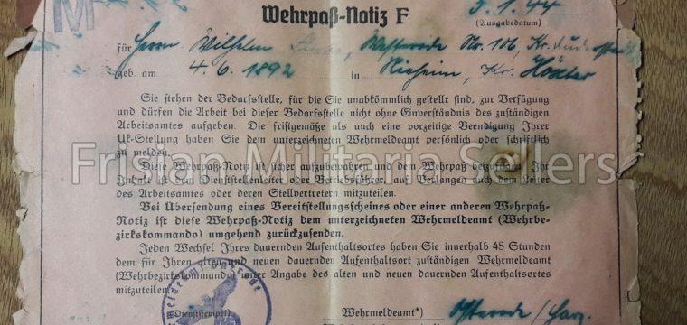 Feldpost Wehrpass- aantekening 5-1-'44
