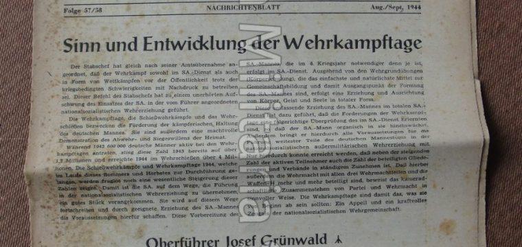 Nachrichtenblatt SA gruppe Niedersachsen OBERSTE SA FÜHRUNG aug/sept. 1944 Folge 57/58