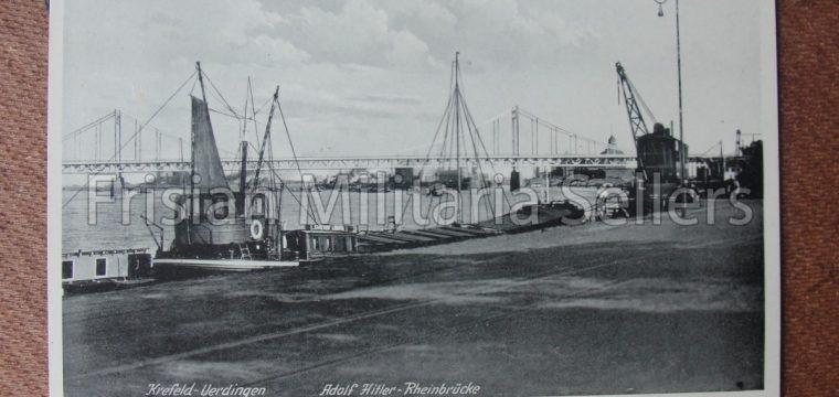 2 x Duitse postkaart Krefeld – Verdingen,  Adolf Hitler – Rheinbrücke
