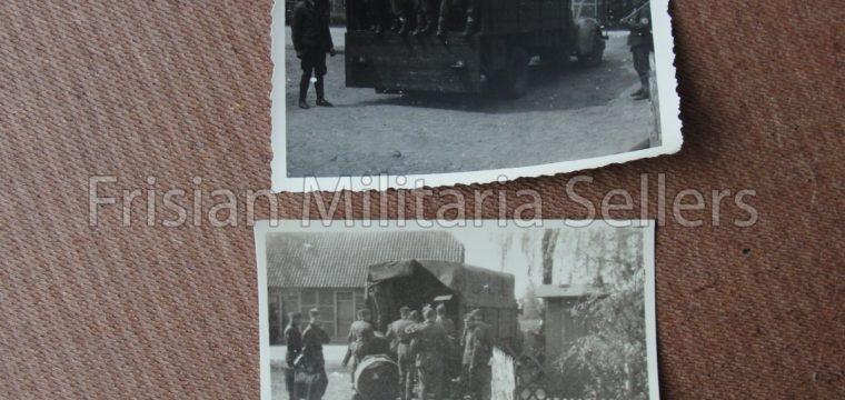 2 x kleinbeeld foto van Duitsers/vrachtwagen