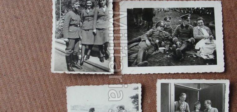 lot van 6 kleinbeeld foto 's Duitse soldaten met vrouwen