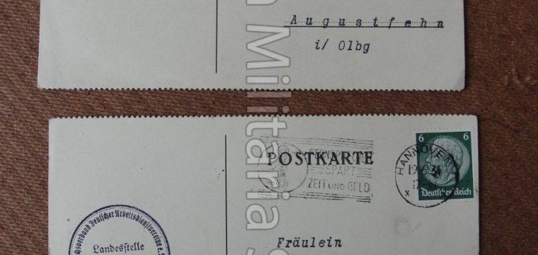 2 x Postkarte Deutsche Frauwenarbeitsdienst 1934 Landestelle Niedersachsen