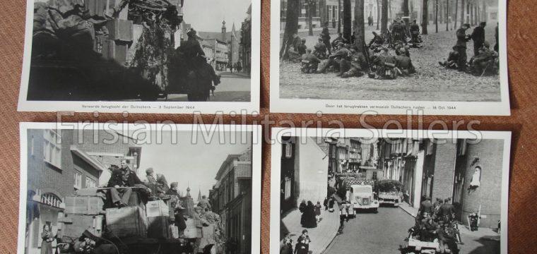 4 Grootformaat foto's van terugtrekkende Duitse troepen in sept/okt 1944