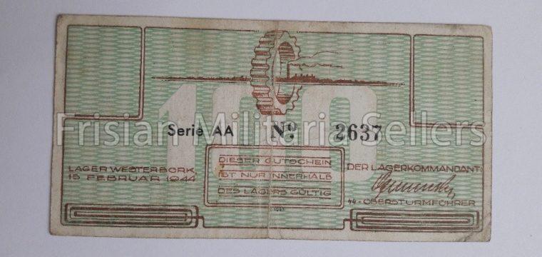 DUTCH LAGER WESTERBORK MONEY 100 cent, very hard to find – Durchgangslager, Konzentrationslager