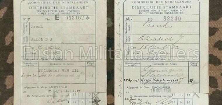 2 WW2 Distributie stamkaarten van fam. uit Assen.
